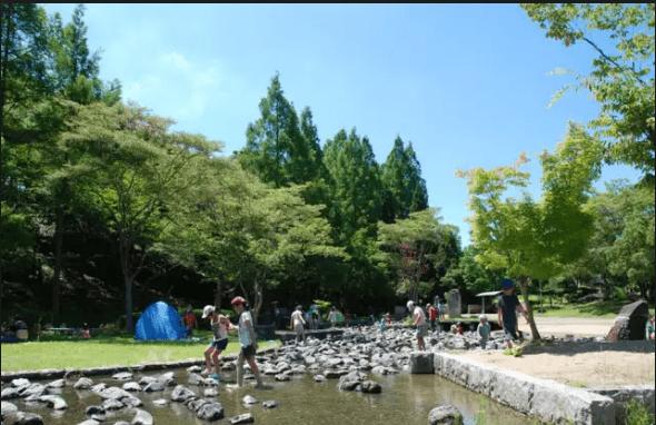 水遊びが楽しめるじゃぶじゃぶ池、公園、プール(兵庫県立播磨中央公園の子どもの小川)