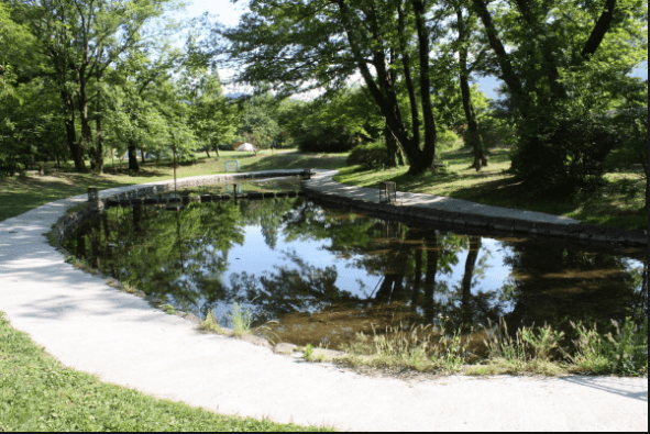 水遊びが楽しめるじゃぶじゃぶ池、公園、プール(グリーンパーク山東の泥んこ池)