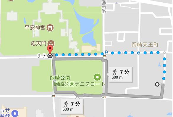 三井のリパーク 京都市動物園北から平安神宮までの徒歩の時間