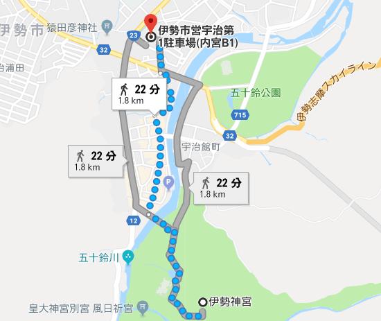 内宮B1駐車場から伊勢神宮内宮までの徒歩の距離・徒歩時間