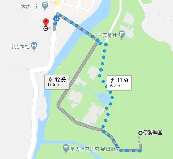 内宮A1・A2駐車場から伊勢神宮内宮までの徒歩の距離・徒歩時間