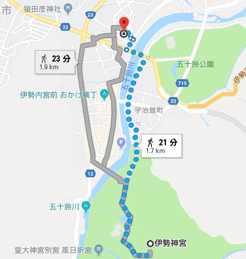 内宮B4駐車場から伊勢神宮内宮までの徒歩の距離・徒歩時間