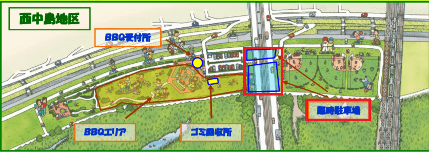 淀川河川公園西中島地区の臨時駐車場