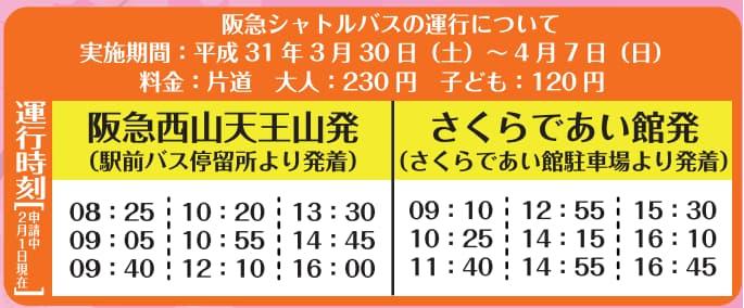 2019年の淀川河川公園背割堤地区へのバスの運行時刻予定