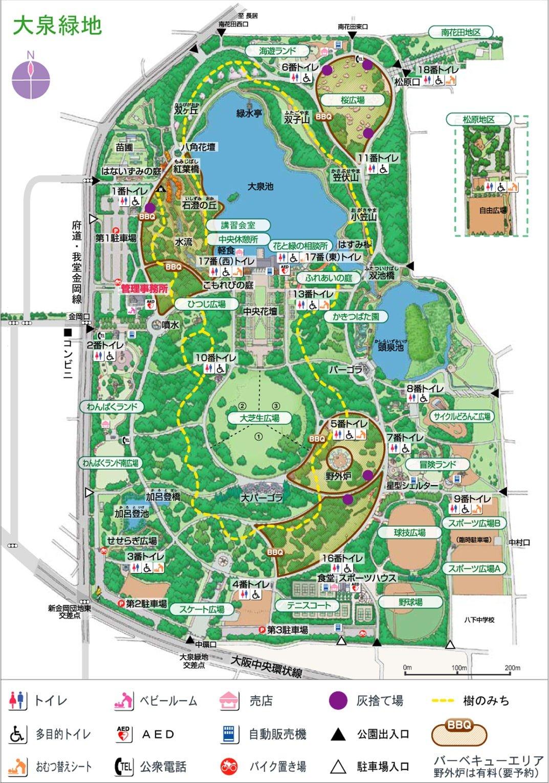 大泉緑地公園のイラストマップ