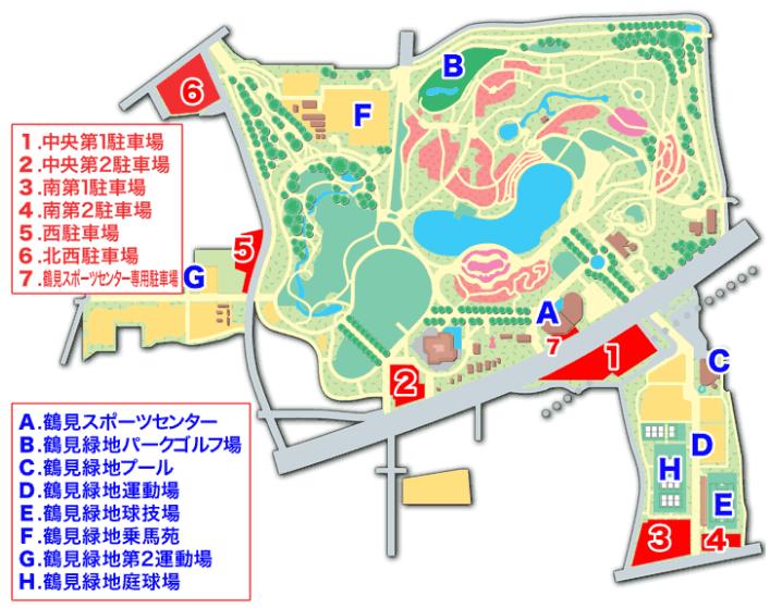 鶴見緑地公園の駐車場マップ