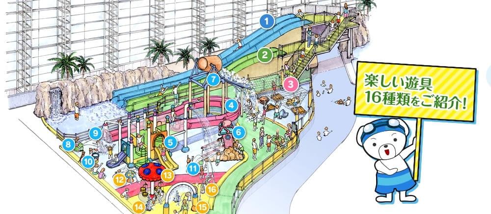 世界の大温泉 スパワールド(スパプー)のスパプーキッズのマップ