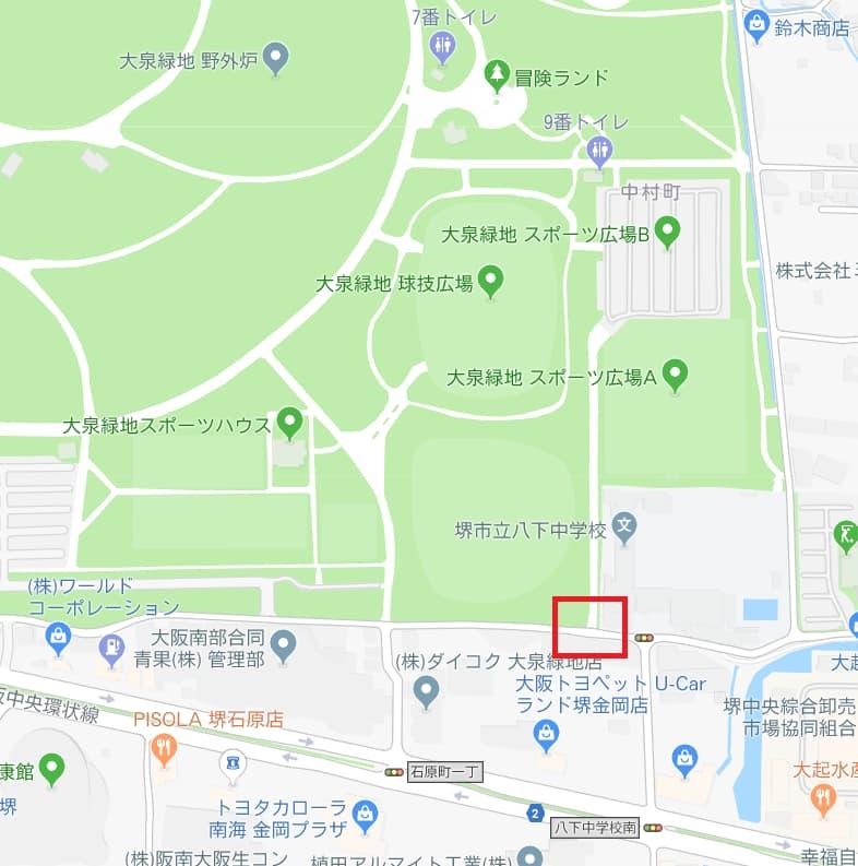 大泉緑地公園の東臨時駐車場周辺の地図画像