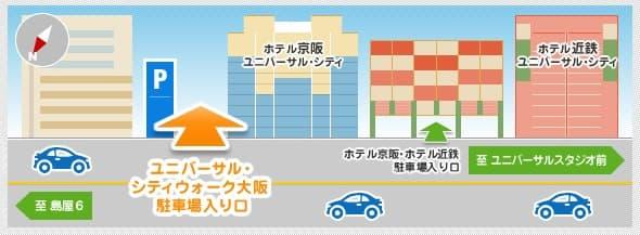 ユニバーサル・シティウォーク大阪の駐車場(入り口画像1)
