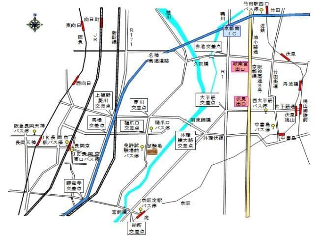 京都羽束師運転免許試験場へのアクセス地図