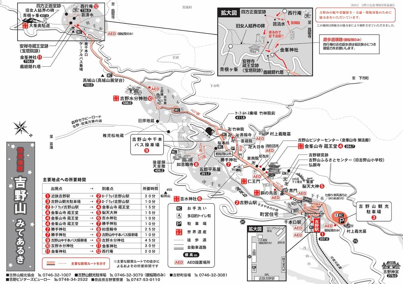 吉野山散策マップ