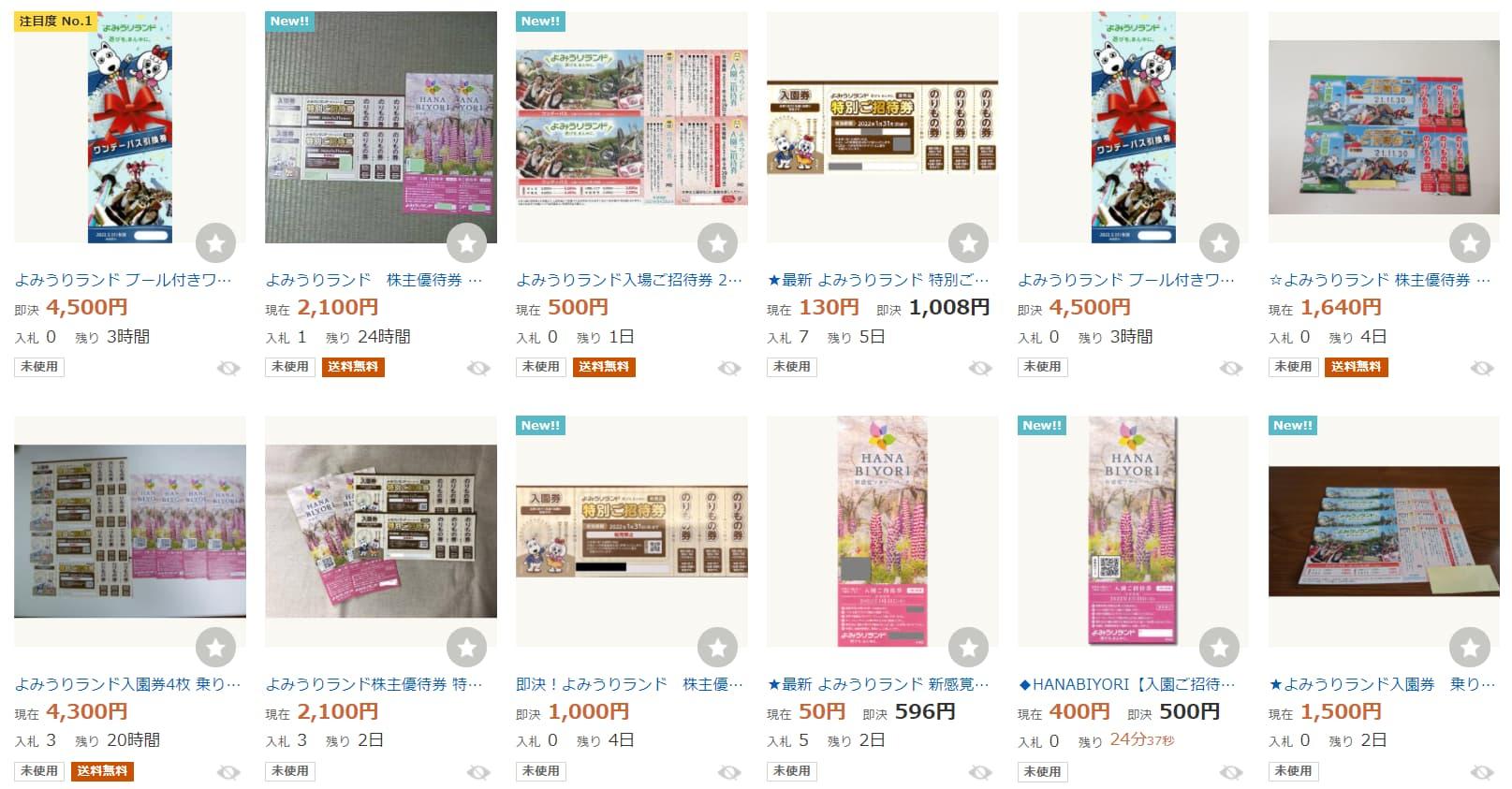 よみうりランドチケット割引クーポン(Yahoo!オークション(ヤフオク))